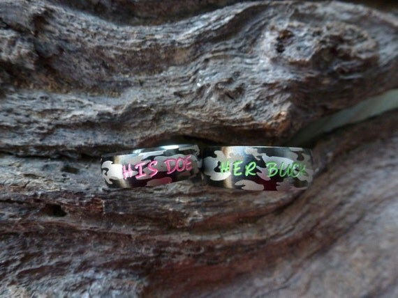 camo ring set his her camouflage stainless steel rings name rings wedding - His And Her Camo Wedding Rings