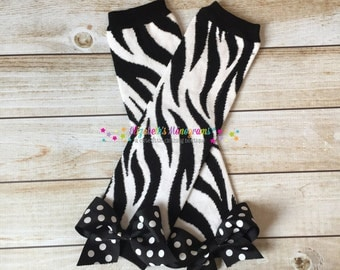 Girl's leg warmers with bows - Zebra