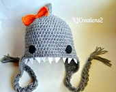 Shark Hat (All sizes available-Made to order) With bow in any color