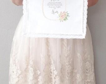 Tea Rose Mother of the Bride or Mother of the Groom Printed Handkerchief.  Lace edge Handkerchief.  Wedding Handkerchief