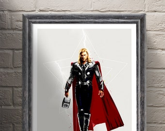 Marvel DC Comics Thor Avengers Poster , ART PRINT illustration, The Avengers, Marvel, Superhero, Home Decor, Wall Art
