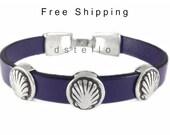 Scallop shell, Way of St. James souvenir, Camino de Santiago, Pilgrim ways gift, Men, Womens leather bracelet, Personalized color, Unisex