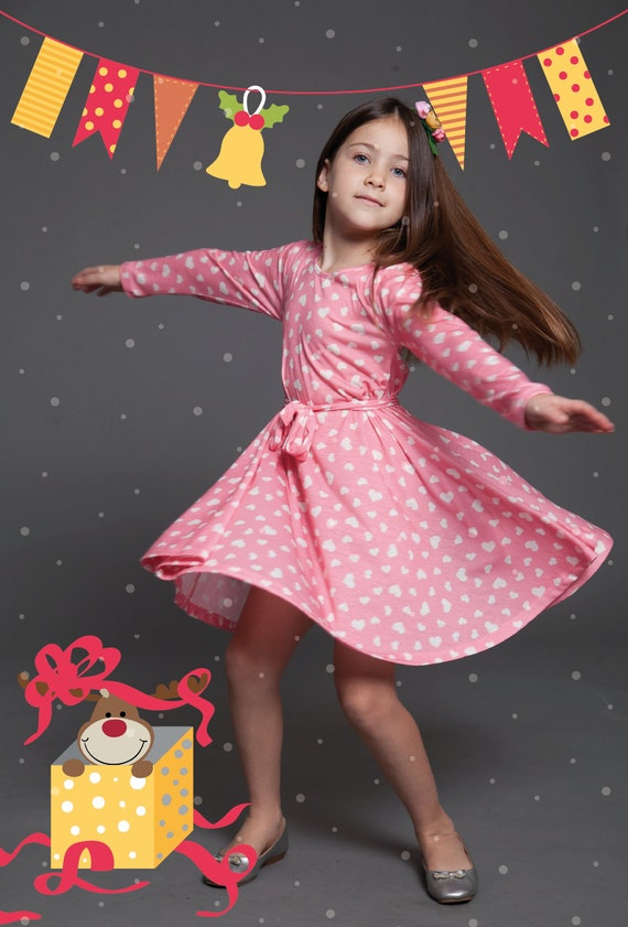 Pink Hearts Winter Dress Girls Pink Dresses By Tapumeyou
