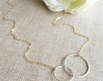 Gold and Silver Link Necklace . unity necklace . link necklace . infinity necklace . silver and gold . handmade jewelry . forever necklace