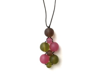 Nursing Necklace/ Breastfeeding Necklace - Twiddle Cluster - Autumnals - Autumnal - Brown, Cream, Olive Green, Raspberry