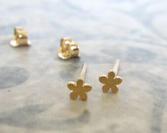 14K Solid gold tiny flower studs , Gold flower post earrings , Handmade by Adi Yesod