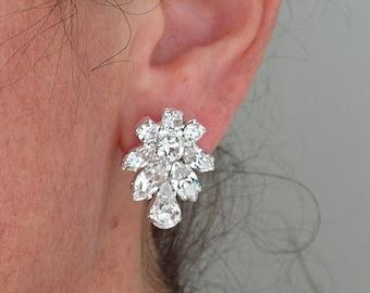 Crystal bridal earrings,Bridal earrings,Statement stud earrings,Bridesmaids gift,Cluster earrings,Stud earrings,Swarovski crystal earrings