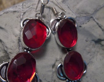 PRE-HOLIDAY SALE...Rich Ruby Red Rainbow Mystic Topaz Earrings From France...Set In .925 Sterling Silver