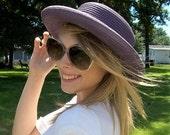 Vintage Ladies Purple Curved Brim Straw Sun Hat Large Only 10 USD