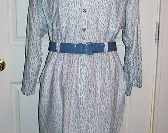 Vintage 80s Ladies Blue Gray & White Print Dress by Virgo II Size 16 Only 8 USD