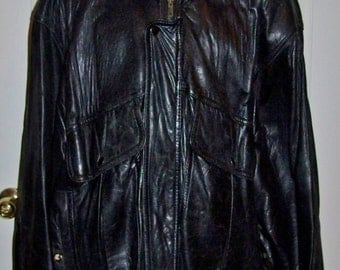 Vintage Men's Black Distressed Leather Jacket Extra Large Only 18 USD