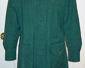 Vintage 1960s Ladies Green Raincoat w/ Zip Out Lining by London Fog Size 10 Only 10 USD