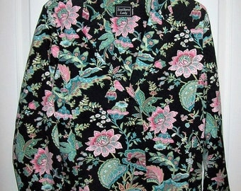Vintage Ladies Black Floral Print Blazer by Southern Lady Large Only 9 USD