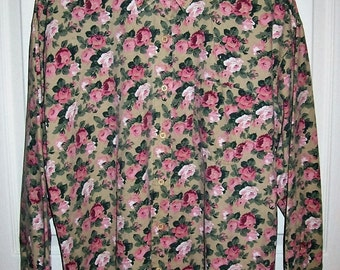 Vintage 80s Ladies Pink & Green Floral Print Shirt by Capacity Medium Only 8 USD