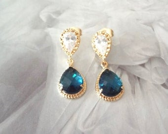 Sapphire gold earrings - Cubic Zirconia's - 14k gold over sterling posts - Sapphire Blue - Teardrops - Bridal jewelry - Bridesmaids - Gift