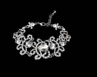 Crystal  bracelet ~ Brides bracelet ~ Wedding bracelet ~ Bridal jewelry ~ Rhinestone statement bracelet ~ ANGELINA