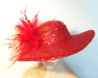 Womens Red Hat, Wide Brim Red Hat, Kentucky Derby Hat, Garden Party Hat or Victorian Tea Party