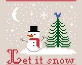Let It Snow Christmas Snowman Cross Stitch Pattern PDF **Instant Download**