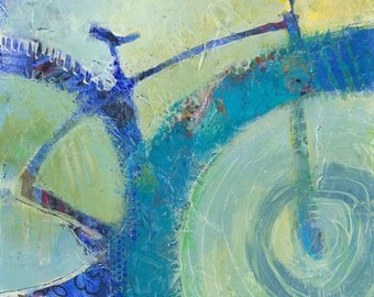Blue Bike, original painting in mixed media
