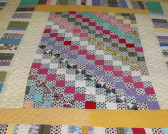 Vintage hand made patchwork strip quilt