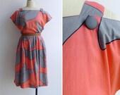 Vintage 80's Coral Pink & Grey Button Back Cutout Dress L or XL