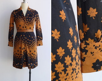 Vintage 70's 'Sakura Season' Graphic Op Art Floral Shirt Dress XS-S (Petite)