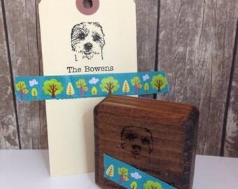 Pet Portrait Return Address Rubber Stamp - Custom Stamp in Reclaimed Wood Mount