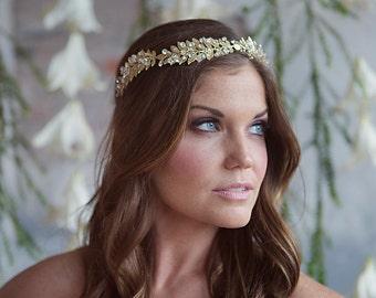 Gold Leaf Bridal Hair Vine, Wedding Laurel Greek Crystal Headband, Boho Bohemian Headpiece with gold metal leaves