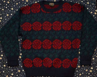 Vintage 80s Rose Knitted Wool Sweater Floral