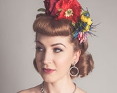 Rainbow Floral Crown Fascinator Wildflower Meadow Bridal Vintage Style