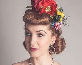 Rainbow Floral Crown Fascinator Wildflower Meadow Bridal Vintage Style