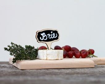 Cheese Markers, Food Markers, Mini Chalkboard Signs,Wine and Cheese, Set of 4, Reusable, NON TOXIC & Made in the USA, Small Chalkboard Signs