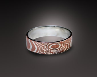 5mm Mokume Gane Ring Band mokume Ring Mokume Wedding Band silver mokume copper mokume gane wood grain ring mens ring womens ring mokume-gane