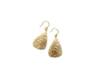 Hammered Gold Teardrop Earrings