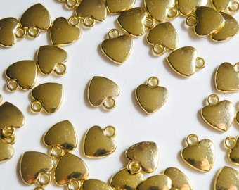 20 Heart Charms Gold Small Simple 12x10mm PGLF1170Y