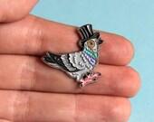 Pigeon Enamel Pin Badge - Birds in Hats Pigeon in a Top Hat Pin Badge, Lapel Badge, Hat Pin, Pigeon pin, Bird pin, Pigeon badge