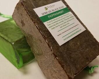 African Black Soap - Peppermint - Raw Black Soap - Natural Soap - Shampoo Bar - Natural hair