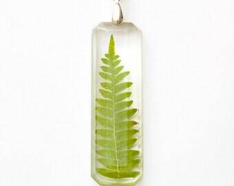 Natural Forest Leaf necklace - leaf pendant, natural necklace, fern, resin necklace, forest jewelry, natural jewellery, nature, green