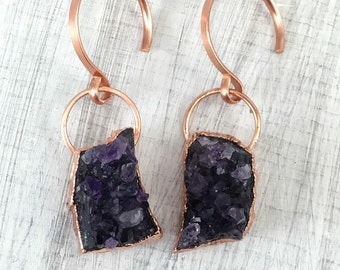 Amethyst Cluster Ear Weights, ear weights, dangle plugs, plug weights, wedding plugs, dangles for gauged ears, dangle plugs, plugs, gauges