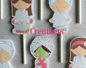 Spa Cupcake Toppers - set of 12