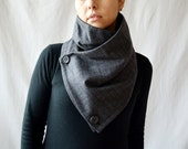 Grey cowl scarf, grey neckwarmer, Men's gift, Unisex gift, Prince of Wales scarf, grey shawl, holiday gift,wool scarf,wool cowl