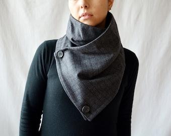 Grey cowl scarf, grey neckwarmer, Men's gift, Unisex gift, Prince of Wales scarf, grey shawl, holiday gift,wool scarf,wool cowl