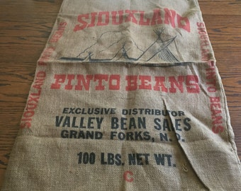 Siouxland Pinto Beans Vintage Burlap Sack- Grand Forks North Dakota