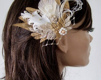 "Bridal Fascinator Gold White Pheasant Peacock Feathers + Vintage Lace + Veil ""Cia"" Clip. Bridesmaids Boho Fairytale Rustic Theme Wedding"