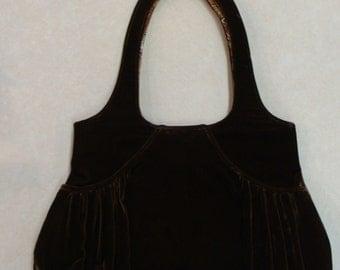 BROWN VELVET HANDBAG 1990's classic shoulder bag purse