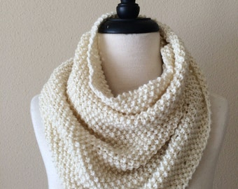 Chunky Knitted Cowl Neckwarmer, Knit Circle Infinity Scarf | Cream | Vegan Yarn