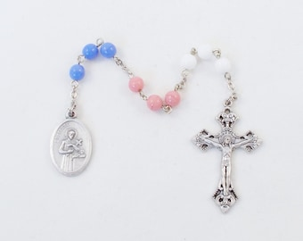 Pro Life Chaplet St. Gerard of Majella - Patron Saint of Expectant Mothers - Blue, Pink, and White Czech Glass