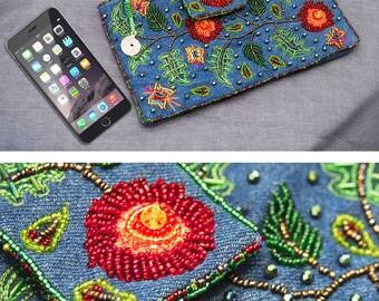 Evening purse Clutch bag Beaded Denim Embroidery Casual Elegant wristlet Denim Blue Green Small shoulder bag iphone pocket Designer bag