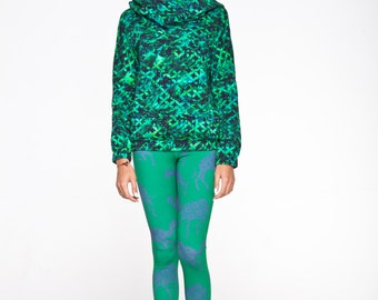 WINTER SALE -40% Organic cotton green leggings with violet camels .