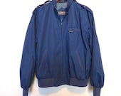 1980s Members Only Jacket Mens Size Medium Blue Coat Made in Hong Kong